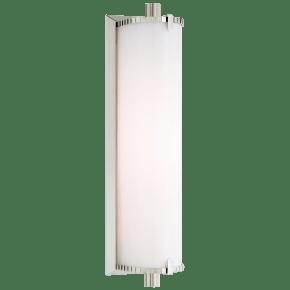 Calliope Medium Bath Light in Polished Nickel with White Glass