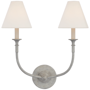 Piaf Double Sconce in Swedish Gray with Linen Shades