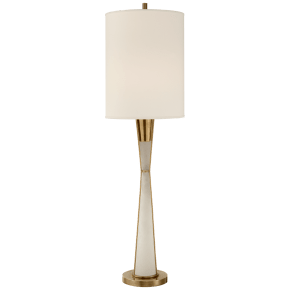 Robinson Tall Buffet Lamp in Hand-Rubbed Antique Brass and Alabaster with Natural Percale Shade
