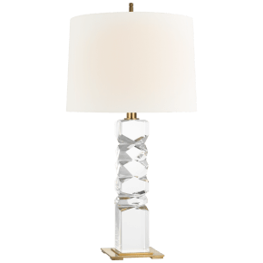 Argentino Large Table Lamp in Crystal and Hand-Rubbed Antique Brass with Linen Shade