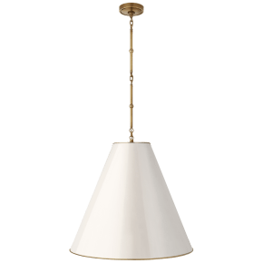 Goodman Large Hanging Lamp in Hand-Rubbed Antique Brass with Antique White Shade