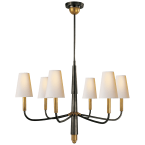 Farlane Small Chandelier in Bronze and Hand-Rubbed Antique Brass with Natural Paper Shades