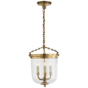 Merchant Lantern in Hand-Rubbed Antique Brass with Clear Glass