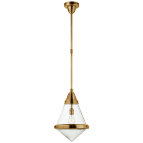 Gale Small Pendant in Hand-Rubbed Antique Brass with Seeded Glass