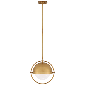 Decca Medium Orbital Pendant in Hand-Rubbed Antique Brass with White Glass