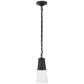 Robinson Small Pendant in Bronze with Clear Glass