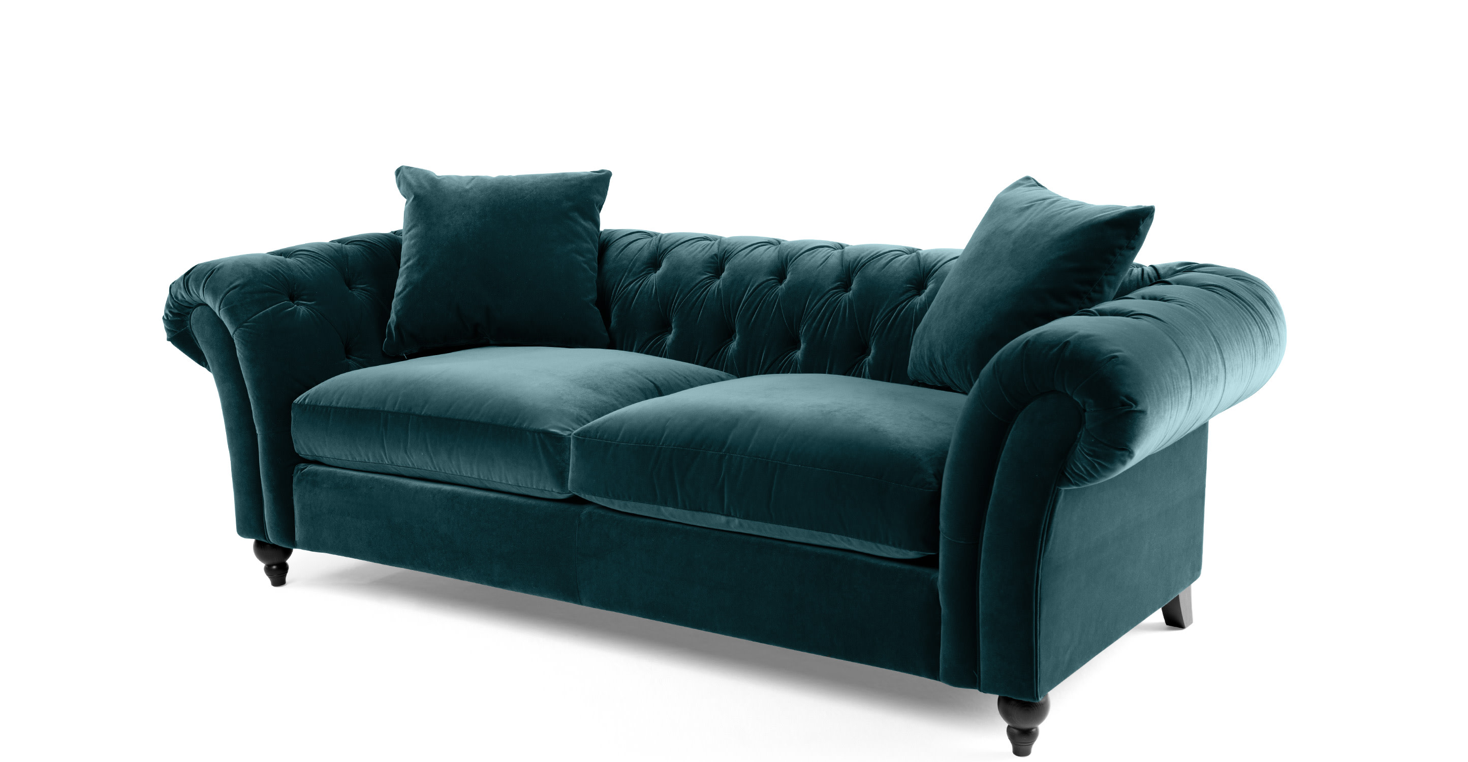bardot canap chesterfield 3 places velours bleu oc an. Black Bedroom Furniture Sets. Home Design Ideas
