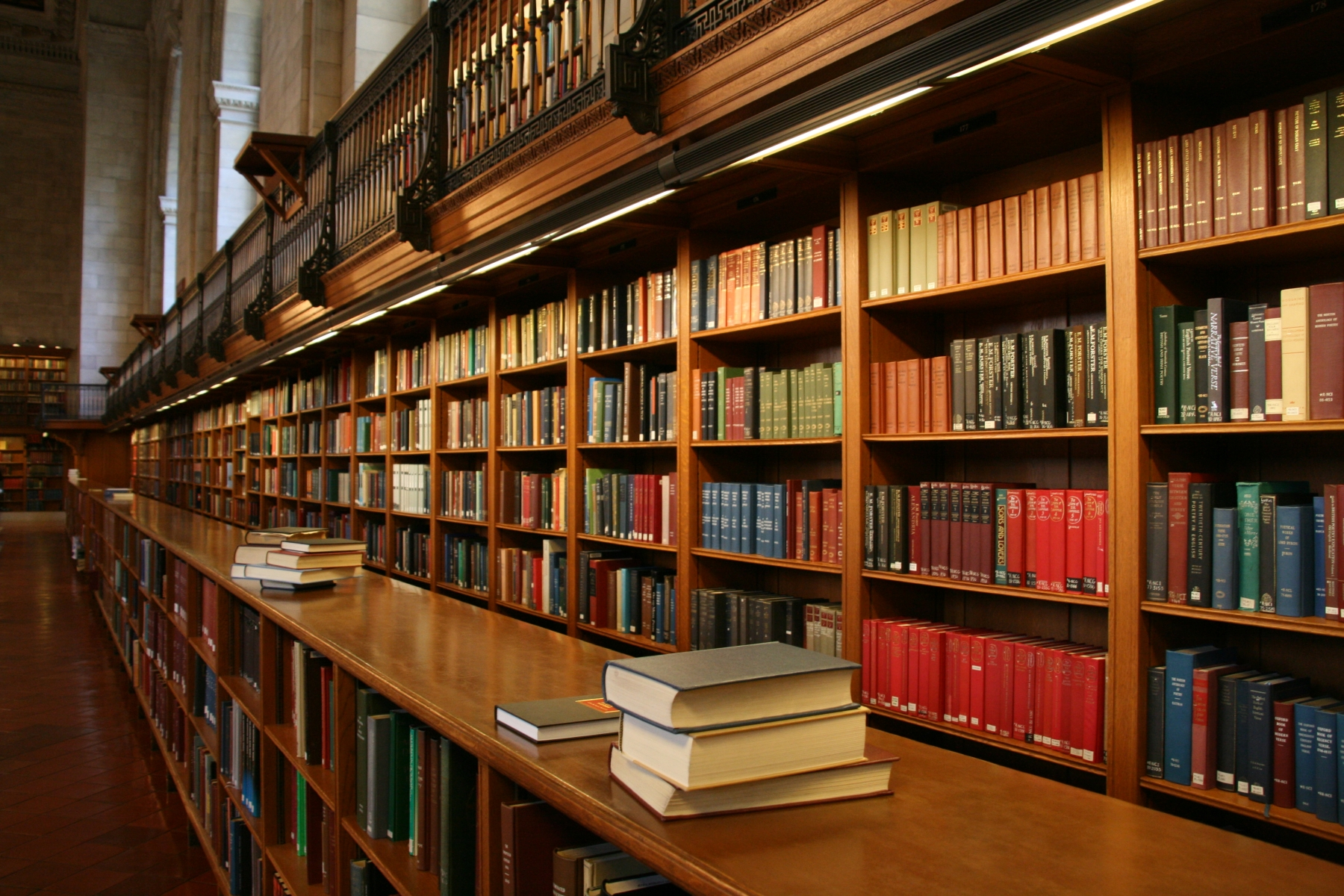 A shelf of books in a library