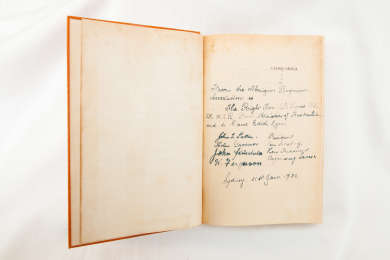 This copy of the novel Capricornia was presented to Joe Lyons on the 31st January 1938 by a visiting delegation representing the Aborigines Progressive Association.