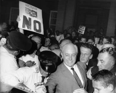 Harold Holt jostled during a November 1966 election rally in Rockdale
