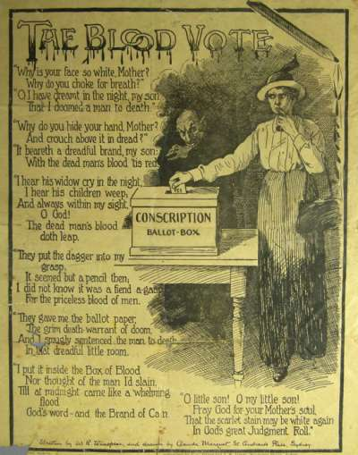 An image of the handbill with the poem 'The Blood Vote'