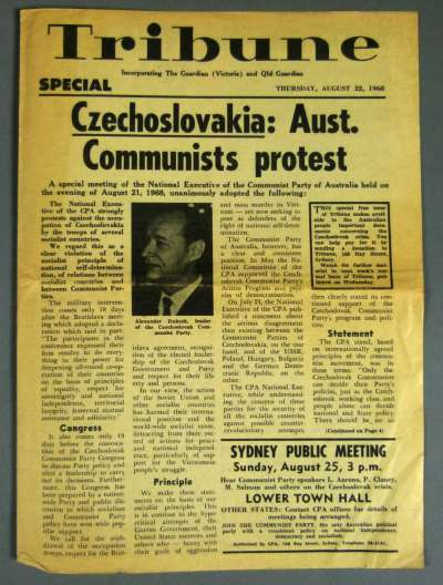 Front page of the communist newspaper Tribune from 22 August 1968, discussing student uprisings in Czechoslovakia. Museum of Australian Democracy Collection.