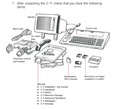 The contents of the box for the Telecom Computerphone outlined in the Installation manual. Museum of Australian Democracy Collection.