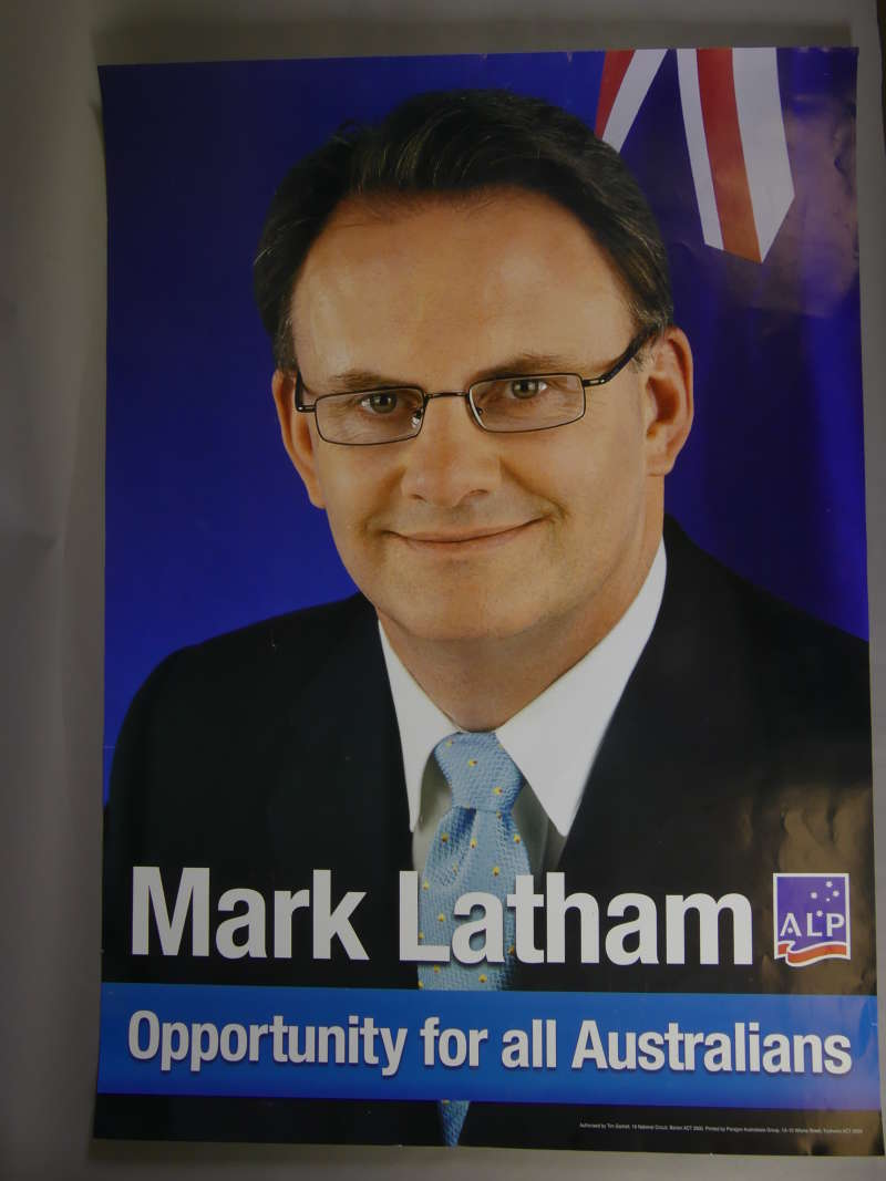 A Labor campaign poster from 2004 featuring Mark Latham