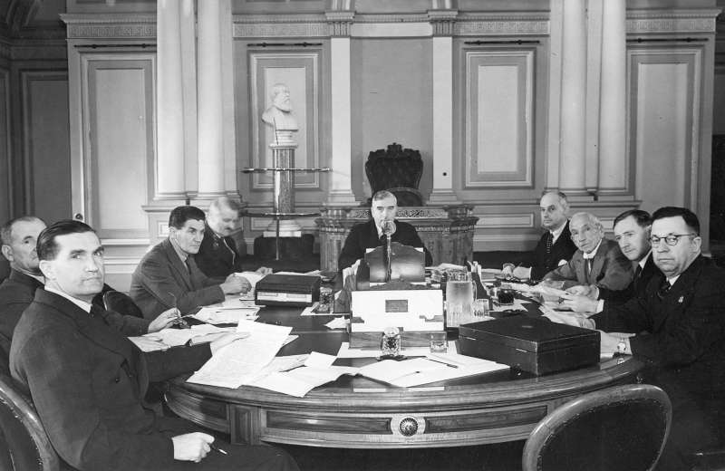 The War Cabinet in session in the old Legislative Council Chamber, Parliament House, Melbourne,  1940