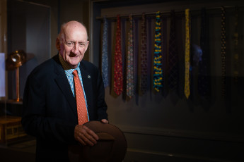 Tim Fischer with some of his donated ties in our 'Finders Keepers' exhibition, 2017.
