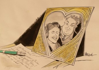 Cartoonist Warren Brown drew this picture of Joe and Enid Lyons in 2007. It depicts a love letter being written from Joe to Enid. MoAD Collection.