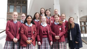 St Clare's College students on front steps of MoAD after their visit