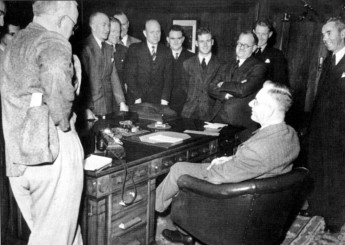 Former journalist John Curtin meets the Canberra Press Gallery (known as The Circus) c1945. Photo - John Curtin Prime Ministerial Library