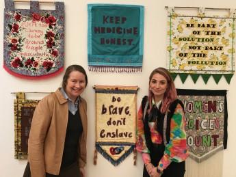 Craftivists Helen Fraser and Tal Fitzpatrick.