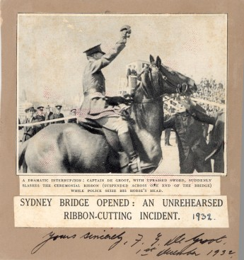 Francis De Groot rides up on a horse, dressed in full military uniform and declares the bridge open.