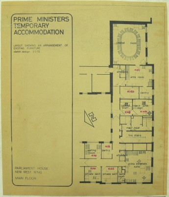 Temporary accommodation was constructed in 1972 for the prime minister and his staff while the extensions were made to the prime ministerial suite.