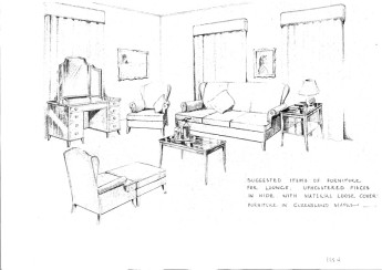 Much work was done inside the House as well to accommodate the Queen. The President of the Senate's Suite was converted to a sitting and changing room for the duration of her visit. This drawing shows the suggested furniture for the room.