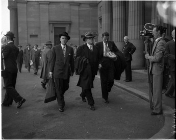 Labor leader Dr Bert Evatt arrives to testify at the Royal Commission on Espionage in 1954, one of the most famous Royal Commissions. State Library of New South Wales.