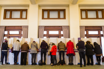People voting during the Election Festival 2016