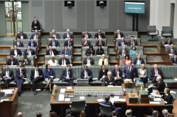Australia's prime minister, and his opposition counterpart, always sit at the table in the House of Representatives, with their front bench colleagues behind them. But why? Image: DPS AUSPIC.