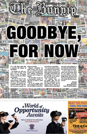 The front page of the last print issue of local newspaper The Bunyip Gawler.
