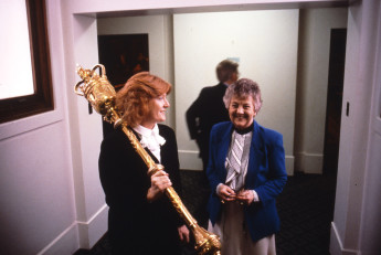 Serjeant-at-Arms, Lyn Simons(left) and Speaker Joan Child(right) at Old Parliament House in May 1988. Photograph taken by Robert Macfarlane.