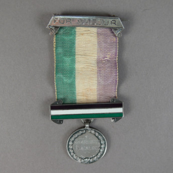Hunger strike medal awarded to suffragette Charlotte Blacklock after her arrest on 1 March 1912. Museum of Australian Democracy collection.