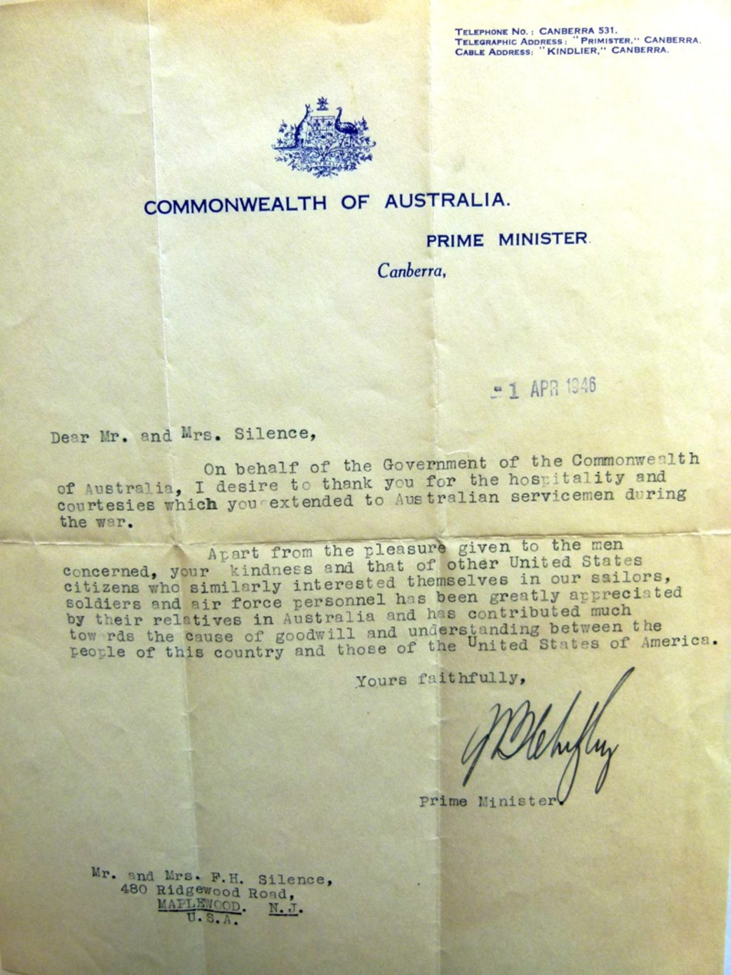 A thank you from australia museum of australian democracy at old ben chifleys letter to fred and mildred silence expocarfo Choice Image