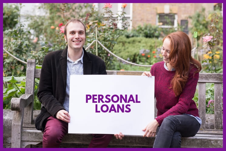 Young people are holding a banner explaining personal loans