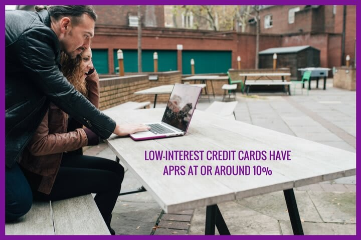 two people are searching for low APR credit cards
