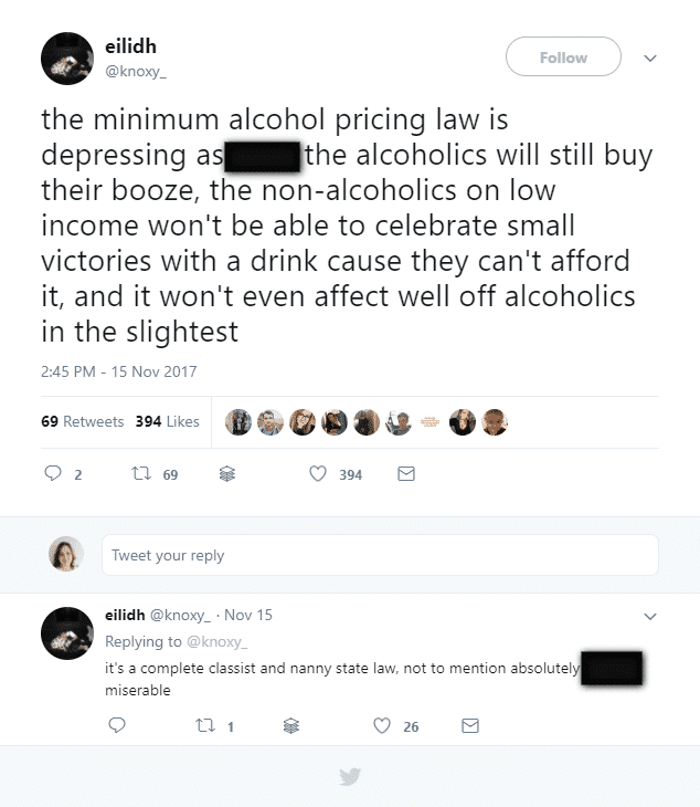 minimum price for alcohol