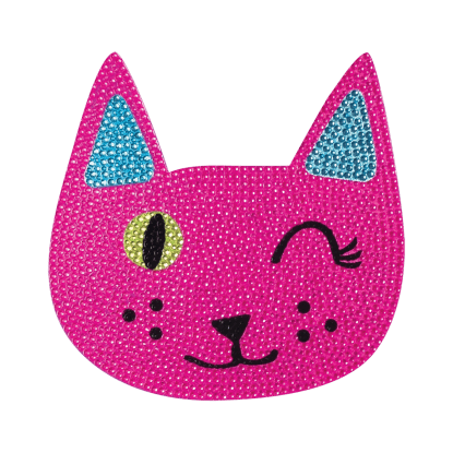 """Picture of Winking Cat Rhinestone Decals Large - 6"""" x 6"""""""