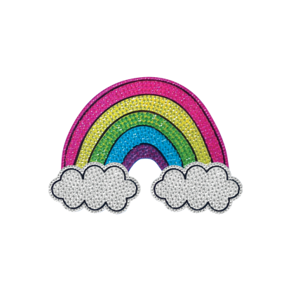 """Picture of Rainbow and Clouds Rhinestone Decals Small - 2"""" x 2"""""""