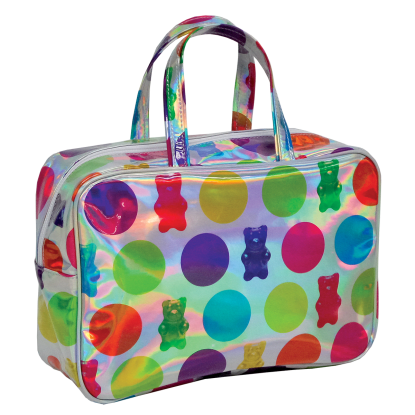 Picture of Polka Dot Gummy Bears Holographic Large Cosmetic Bag