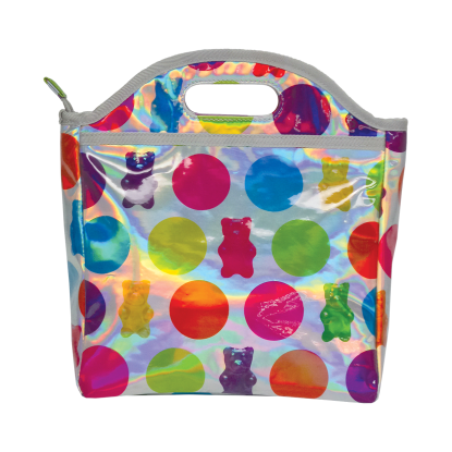 Picture of Polka Dot Gummy Bears Holographic Lunch Tote