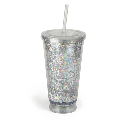 Picture of Light-Up Glitter Cup with Straw