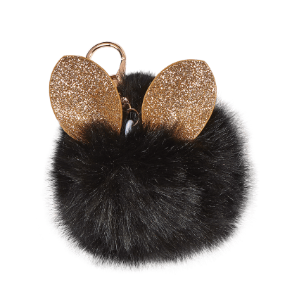Picture of Glitter Ears Furry Pom-Pom Clip Black