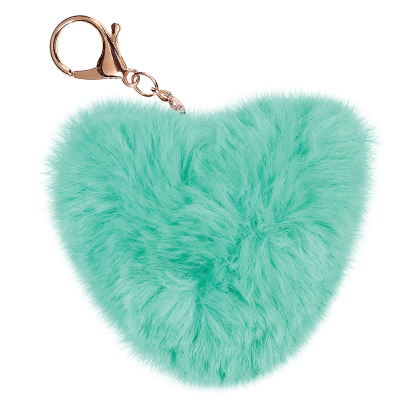 Picture of Heart Furry Pom-Pom Clip Turquoise