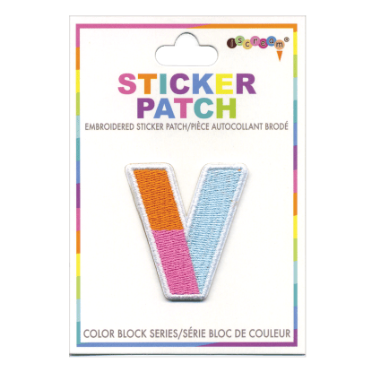 Picture of V Initial Color Block Sticker Patch
