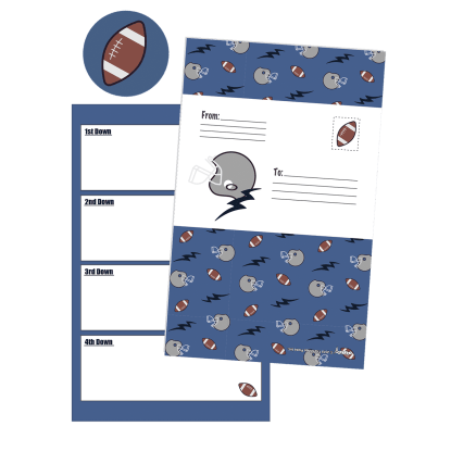 Picture of Footballs and Helmets Foldover Cards