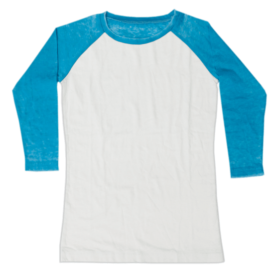 Picture of Burnout White/Turquoise Baseball Shirt