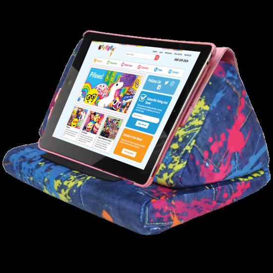 Picture of Paint Splatter Denim Tablet Pillow