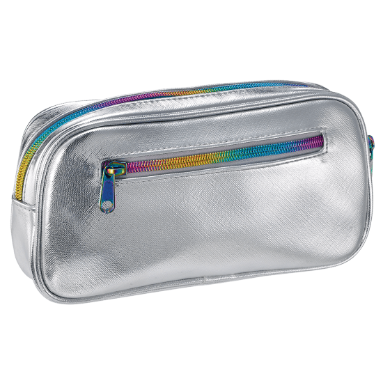 Silver Metallic Small Cosmetic Bag