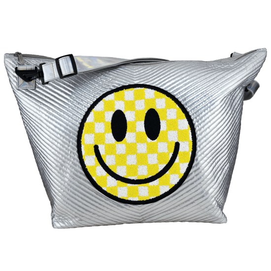 Picture of Checkered Smiley Face Chevron Weekender Bag